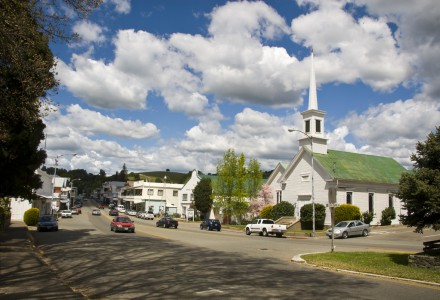 Clouds over Sutter Creek's Main Street in spring, Amador County, Calif.
