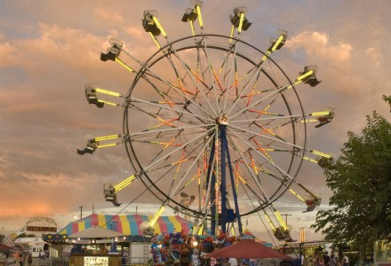Evening at the Amador County Fair carnival, Plymouth, Calif.